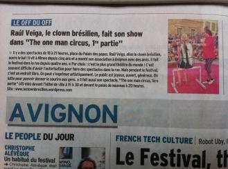 Article au Festival d'Avignon